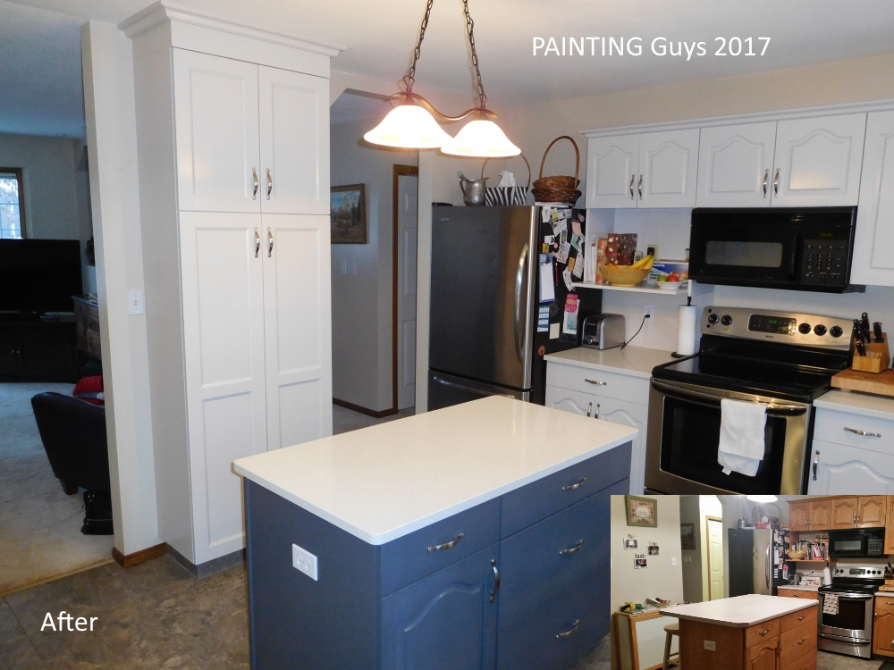 Abalone oak cabinets. PAINTING Guys, Prince George BC