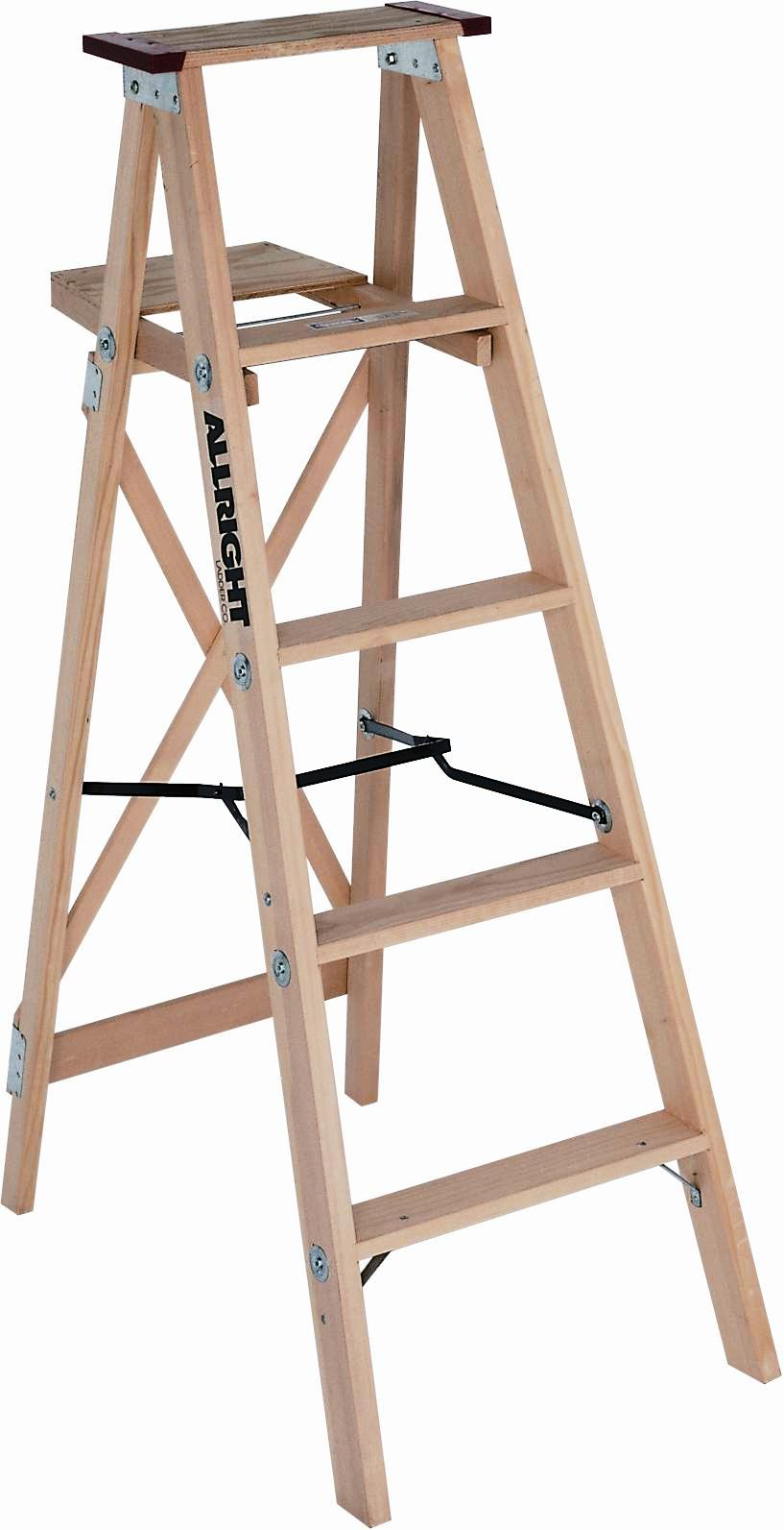 wood step ladder with paint tray