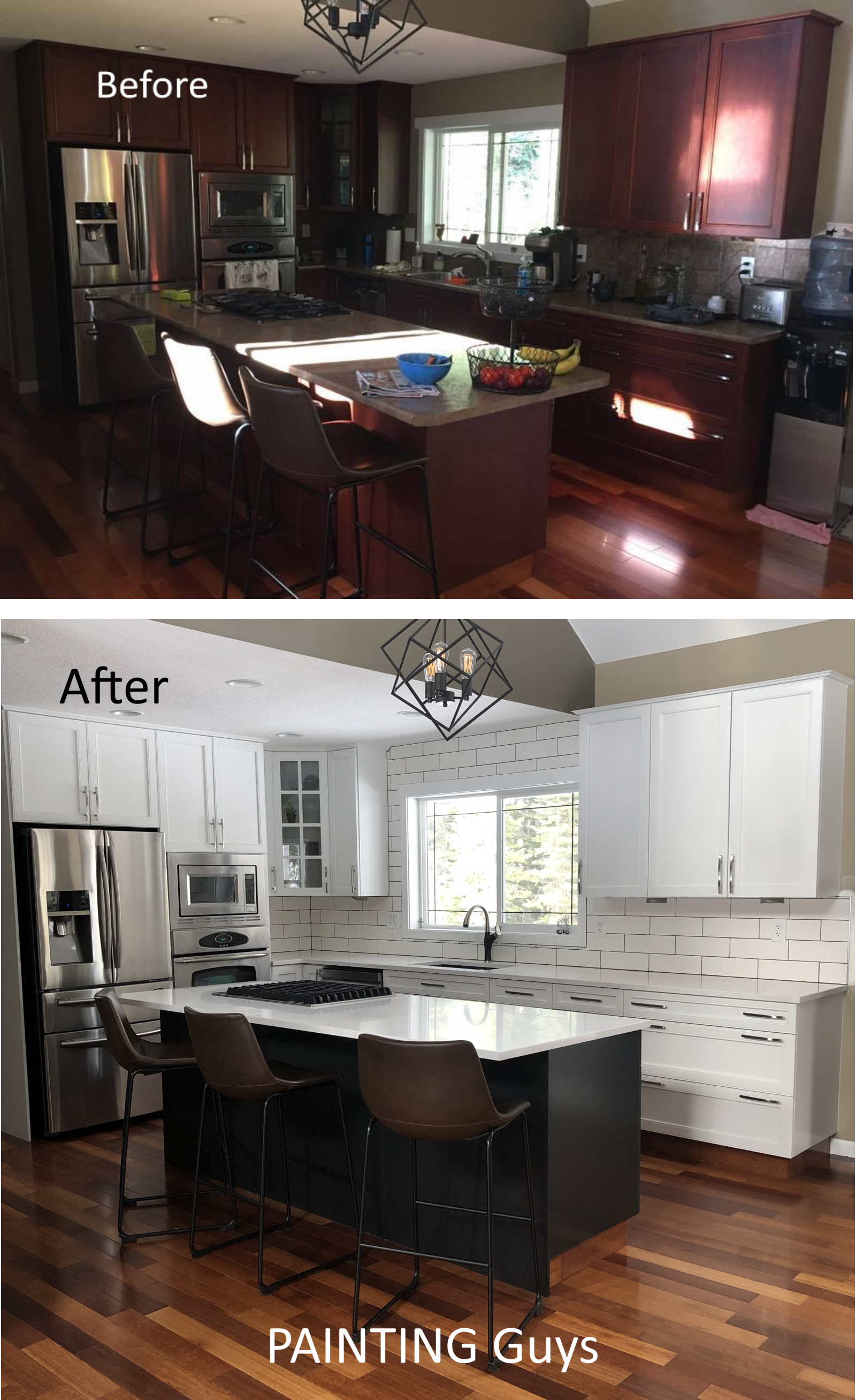 before after kitchen cabinet painting