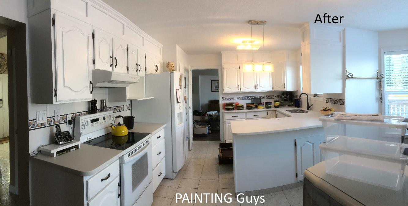 Oak kitchen cabinets repainted - PAINTING Guys Victoria, Cowichan BC Canada