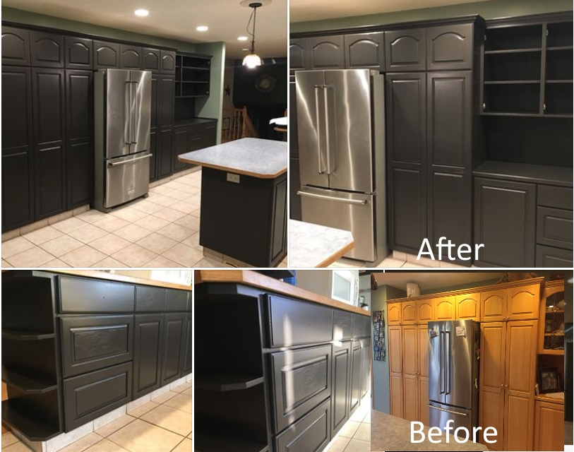 The PAINTING Guys have a professional spray painting shop to remove varnishes and refinish kitchens to look absolutely amazing!