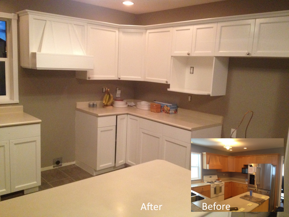 Example of oak cabinets painted cloud white
