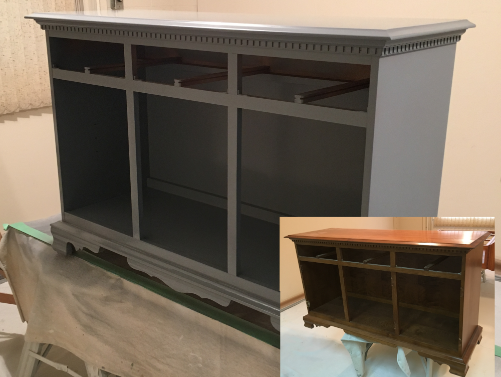 before after maple cabinet we painted