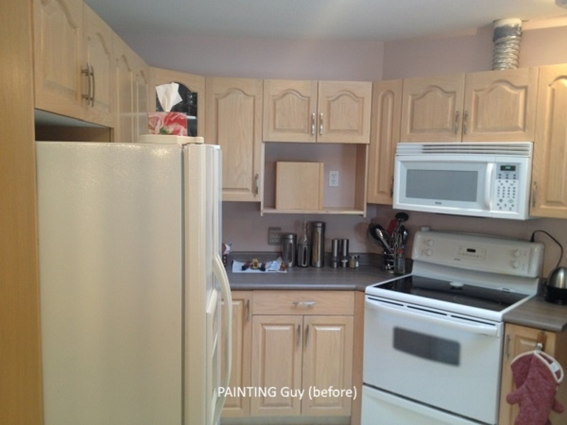Painting oak cabinets painting guys for Before and after pictures of painted oak kitchen cabinets