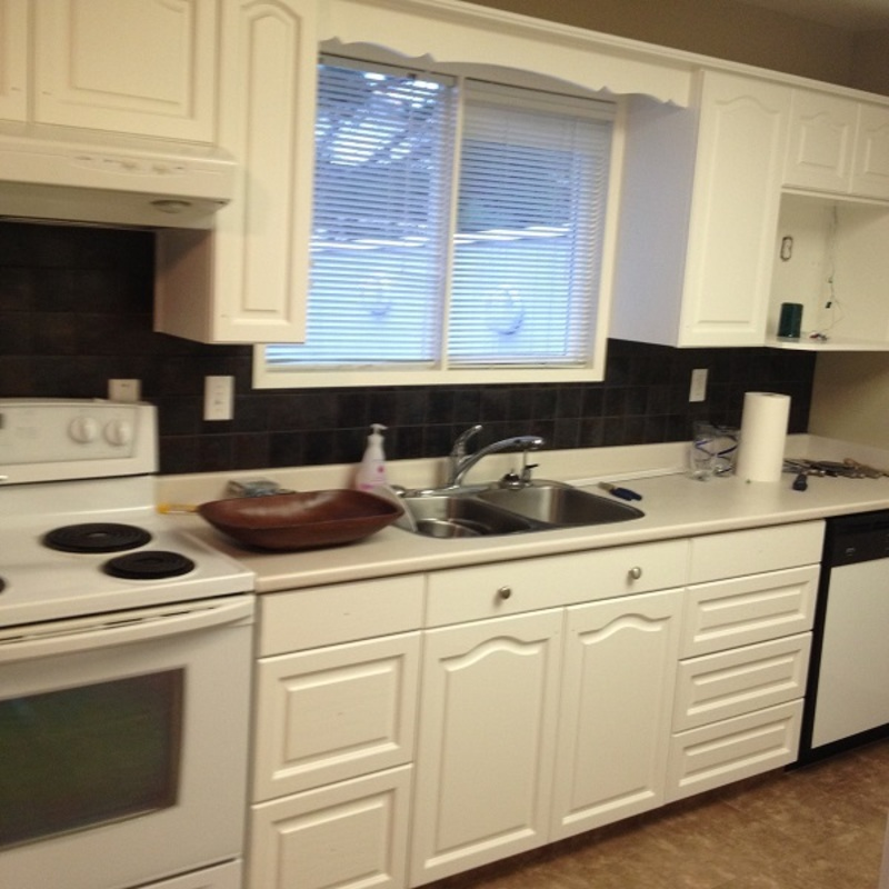 ​Painting Guys Kitchen Cabinet - Repainted Doors back on