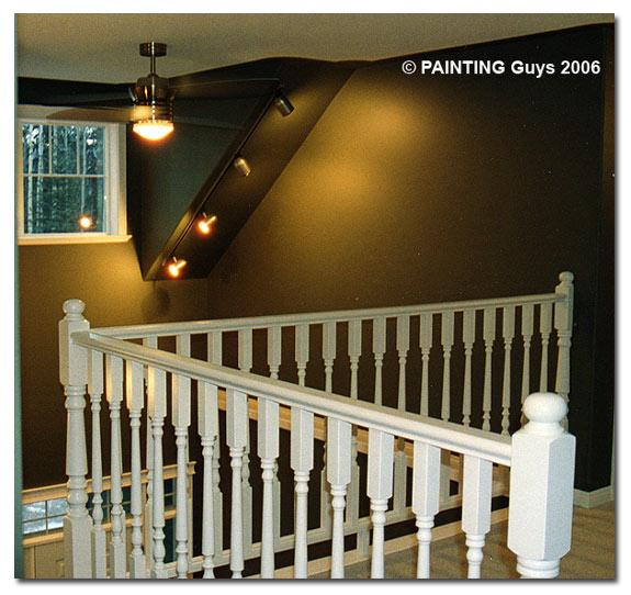 example of our railings and stairway painted by the Painting Guys